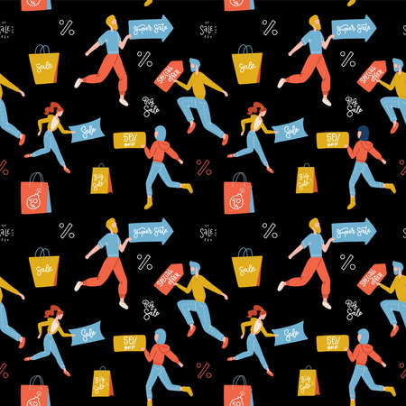 Seamless pattern with isolated people on shopping. Hand drawn graphics. Communication, fitting, shopaholism. Vector flat illustration on black background.