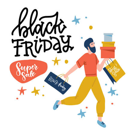 Black Friday guy runs to the store on sale. Male shopper holding bags and boxes. Yoand man with beard on shopping. Flat design vector illustration with lettering.