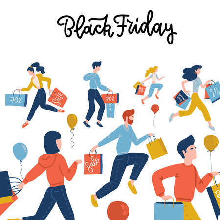 Black Friday square banner. Flat Vector cute illustration of people on the street shopping at the store for sales. Isolated objects for banner, background or poster. Men amd women running with bags. Ilustração