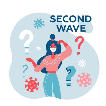 Young woman in white medical face mask asking the question about Covid-19 Second wave. Character in prevention mask. 2019-nCoV quarantine.Fear of new pandemic of coronavirus. Vector flat illustration. Ilustração