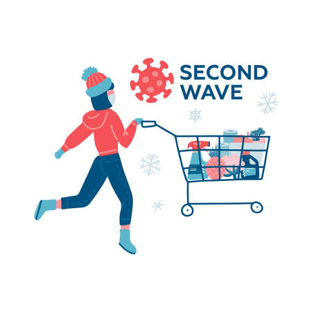 Coronavirus second wave winter shopping. Young woman runnig with full cart buying all groceries she can find in supermarket. COVID-19 concept flat vector character