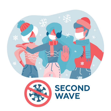 People in masks and warm clothes. Coronavirus Covid-19 pandemic concept, second wave of quarantine. Vector illustration in cartoon flat style Ilustração