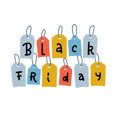 Black Friday Sale tags for promotion. Discount and Price off banner or badge. Vector flat hand drawn illustration. Each letter on separate colorgul tag. Ilustração