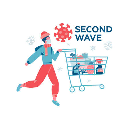Man in white medical mask and warm clothes with cart shopping in supermarket. Concept of corona virus second wave quarantine. Flat vector illustration