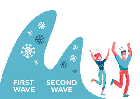 Covid-9 second wave people wearing face protective mask run away from two big coronavirus waves. Flat vector illustration. The frightened man and woman are saved from the disease.