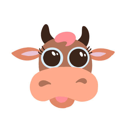 Cute brown cow smiling face with big eyes flat vector icon isolated on white background. Flat cartoon design funny farm animal head illustration. Animal of 2021 year.