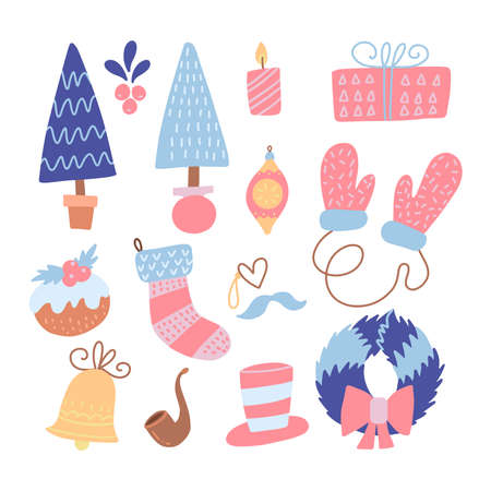 Set of modern flat hand drawn style Christmas flat icons. Vector illustration. Collection for holiday decoration - xmas tree, mittens, wreath, gift box, bell, sock candle, toy and Christmas cake. Ilustração