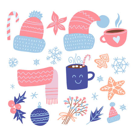 Set of Christmas design elements. Knitted hats, gingerbread , mistletoe, gifts, cup of hot cocoa, baubles. Happy holidays flat objects. Hand-drawn flat vector illustration.