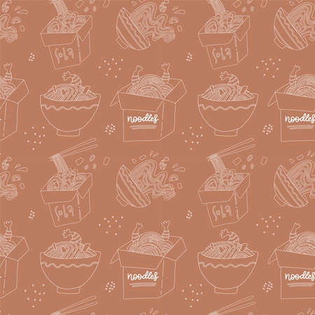 Hand drawn linear seamless pattern - hand drawn Japan food soba print. Line art with cardboard boxes and bowls. Endless vector illustration. Sketchy backdrop with japanese cuisine - Buckwheat noodles. Ilustração