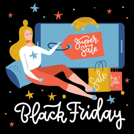 Online shopping banner, concept sale mobile app template with sitting woman character, super sale poster on screen og big phone, Black Friday concept vector flat illustration . Shopping from home.