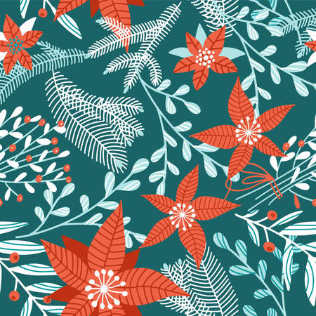 Seamless pattern with winter plants, flowers and berries. Merry Christmas holiday decoration. Forest branches background in vintage style. Red poinsettia on dark green background.