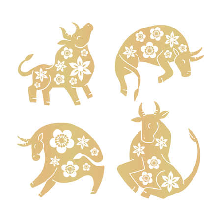 Set of golden ox with flowers silhouete for Chinese New Year. Isolated elements for decor.