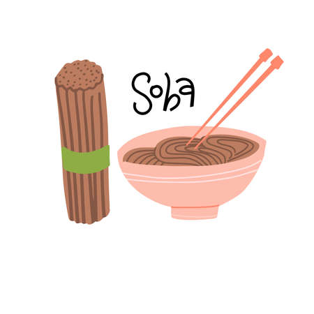 Soba cooking set. Raw and boiled buckwheat soba noodles in bowl isolated on white background. Vector illustration of japanese food, buckwheat grains and chopsticks in simple flat style. Ilustração