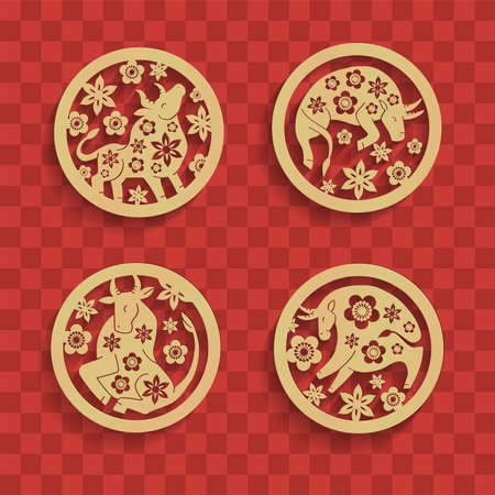 Set of Chinese characters zodiac elements, golden bulls in circle with flowers. Traditional Chinese ornament in golden round frame. Zodiac animals collection. Vector graphics to design. Banque d'images