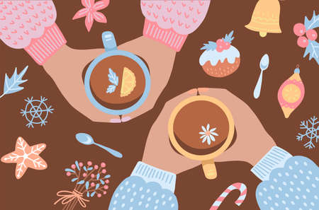 Hands of people sitting around table and celebrating Christmas, dreanking tea with decorated cookies. Top view. Colorful cartoon holiday flat vector illustration. Palms hot with cup with xmas elements