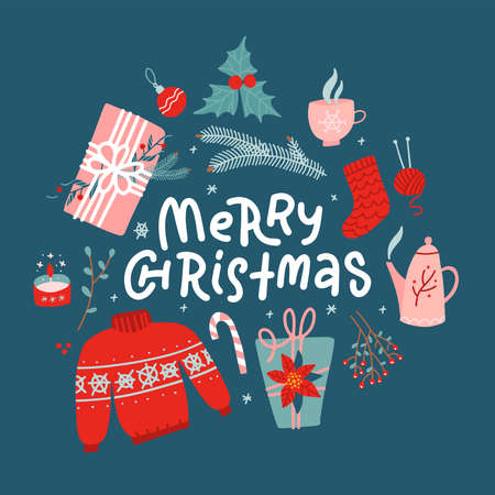 Merry Christmas concept. New Year toys, gifts, sweater - top view and text. Postcard, banner, printed matter, greeting card. Flat vector design.