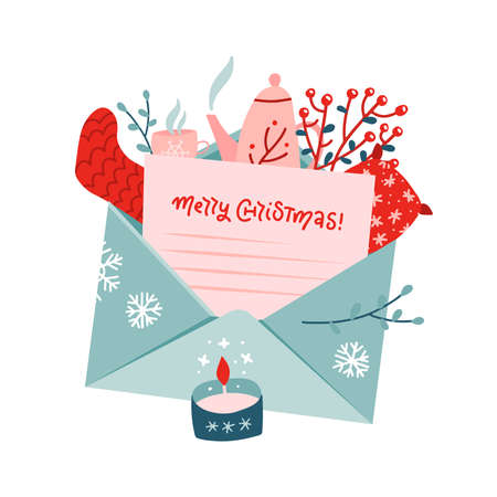 Christmas bouquet with letter in envelope. Set of mistletoe, knitted sock, teapot, pillow, Christmas tree branch, tea cup in Scandinavian style. Concept for winter ad, card. Vector flat Illustration.
