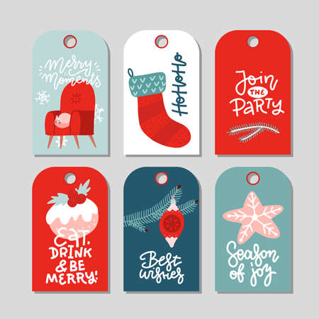 Modern Christmas gift tag flat stylish design. Set of Christmas tags with sock, gingerbread, xmas tree decoration and lettering. Flat vector illustration.