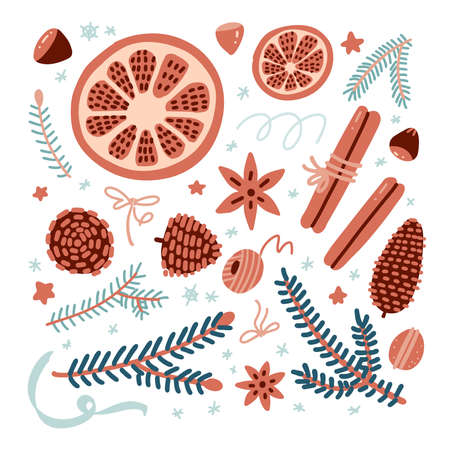Christmas and New Year set with spices, cookies, fir brances and cones with dry oranges etc. Vector flat cartoon illustration isolated on white background. Hygge decor