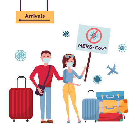 MERS-Cov middle East respiratory syndrome  , Novel  2019-nCoV . Tourists couple from China  medical face mask, travel bag moves from direction of arrival  banner