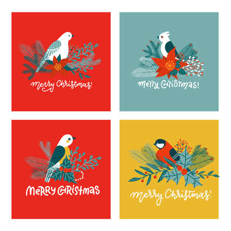 Set of cute Christmas greeting cards. Postcards and prints with different birds on fir tree branches. Vector flat illustration with lettering quotes.