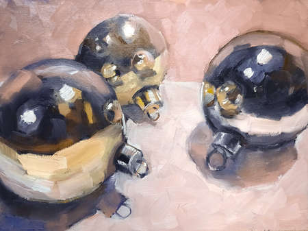 Impressionistic hand drawn oil painting of golden and silvern Christmas tree baubles lying on table. Picture on canvas.