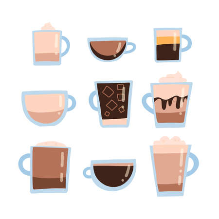 Coffee set types for menu. Flat Vector illustration. Glass cups and mugs in cut.
