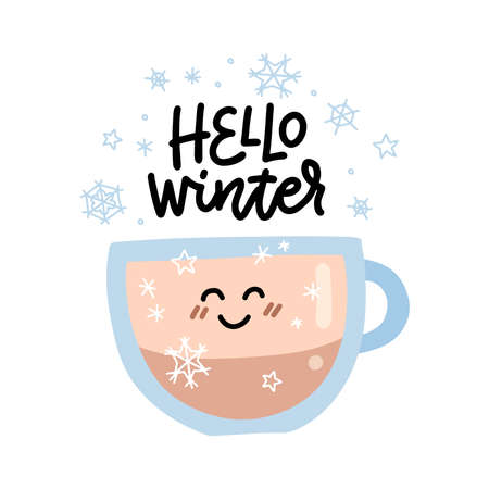 Hot coffee cup with hello Winter lettering decoration. Glass mug with cute face window sticker for cafe. Isolated cozy hygge icon. winter drink bar design element on white background.