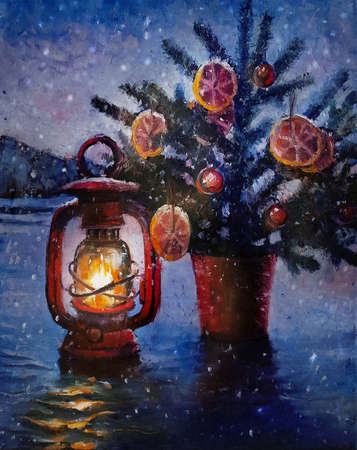 Oil painting - Christmas Lantern with small Christmas tree in pot outdoors. Winter Holiday Scene. Beautiful Background with Snow and fire light. Burning Old Styled lantern in the evening. New Year art