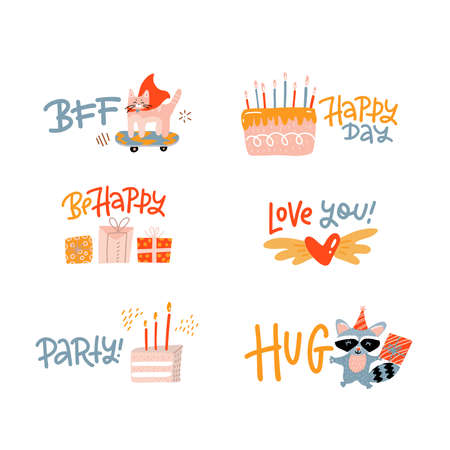 Inspiring social media stickers set. Greeting phrases flat vector illustrations pack. Motivating quotes with birthday elements collection. Bday wishing lettering - Happy day, BFF, party, Be happy.
