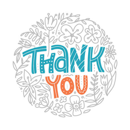 Thank you lettering with decorative floral elements in round shape.