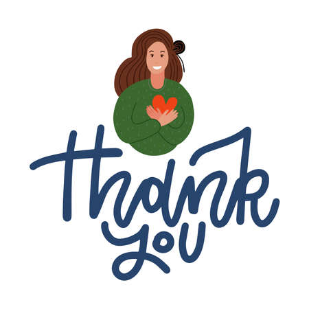 Cute kind hearted young woman keeping hands on chest and holding red heart, expressing gratitude, being thankful for help and support, showing her heart filled with love. Flat vector illustration,