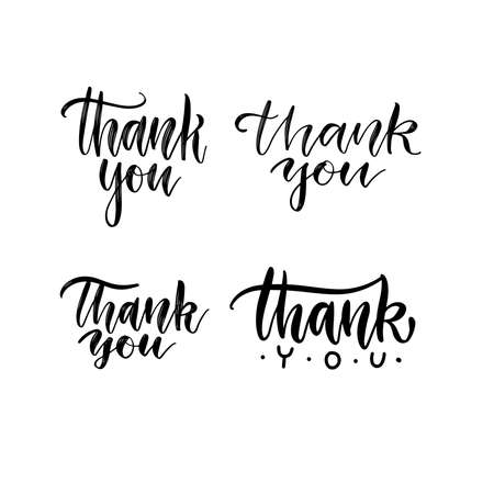 Set of Thank you brush lettering texts.