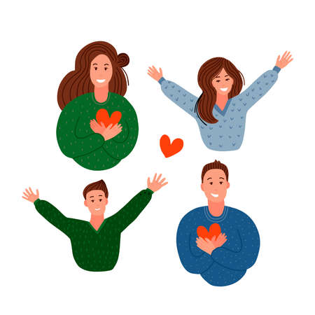 Happy family. Parents holding hearts and children jumping. Delight, joy, victory concept. Mom, dad, son and daughter . Concept of family, family values, support and connections. Modern flat vector illustration