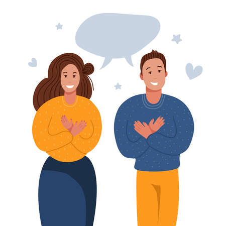 Grateful people saying thank you. Man and woman keeping hands on chest, expresses gratitude, being thankful for help and support. Flat vector illustration Ilustrace