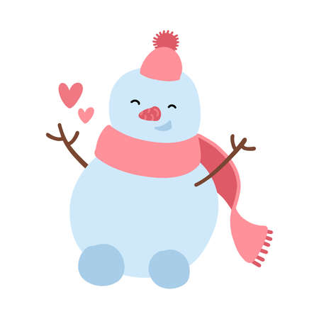 Happy snowman in knitted hat scattering hearts around itself, radiates love and joy. Christmas and St. Valentines holidays design element. Cartoon character Isolated on white. Flat vector illustration Ilustrace