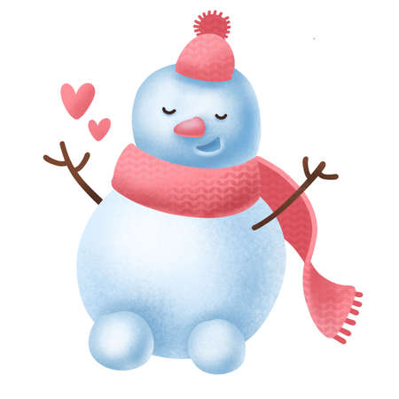Happy snowman in knitted hat scattering hearts around itself, radiates love and joy. Christmas and St.Valentines holidays element. Cartoon character. Textured hand drawn illustration. Digital art.