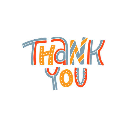 Thank you. Lettering cartoon text for Cute greeting card. Vector hand drawn doodle illustration