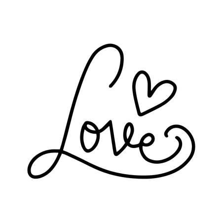 Letterong text - LOVE . Abstract love symbol. Line art drawing vector illustration.