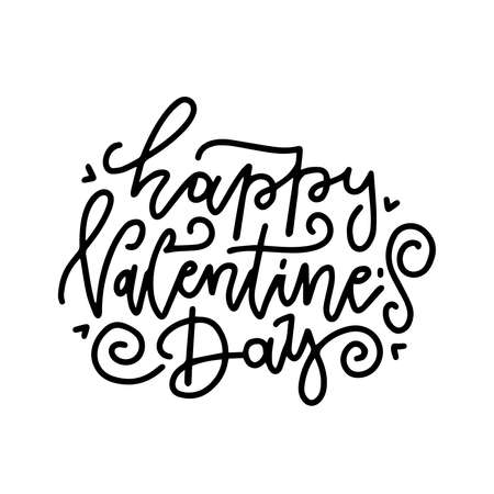 Lettering for Greeting card with handwritten line type text of Happy Valentine s Day on white background. Vector illustration in linear style.