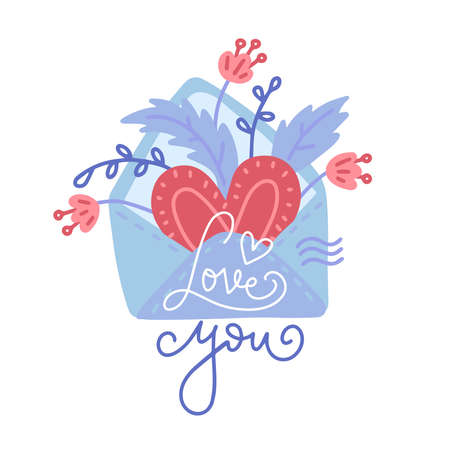 Hand drawn envelope, with heart, florals and lettering Love You. Valentine s Day greeting card design element in cartoon flat style isolated on white for prints, invitations, t-shirts, logos