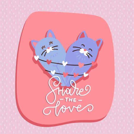 Two cats sitting in the shape of heart with festive garland. Vector flat hand drawn illustration
