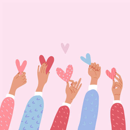 Male or female hands holding hearts. The concept of volunteering or love. St Valentine s banner. Flat vector cartoon illustration. Donations or voting poster or banner.