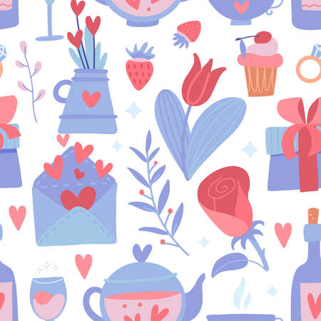 Romantic seamless pattern with flower and heart, teapot and bottle, strawberry and branches on a white background. Vector flat illustration for Valentines day Ilustrace