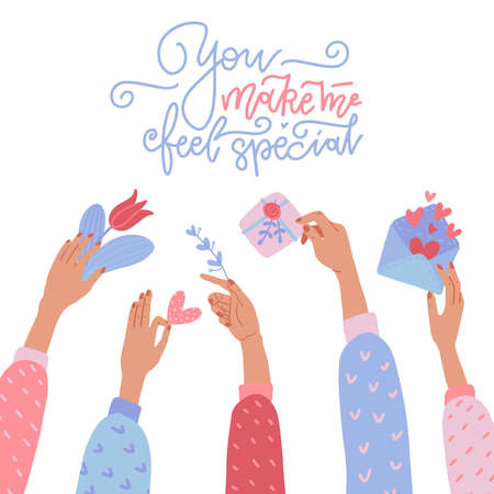 Give gifts. Many hands holding Valentine presents - Gift box with ribbon, red flower, love letter, heart. Vector flat illustratio. Romantic surprise for Valentine s Day. Congratulation. Love greetings