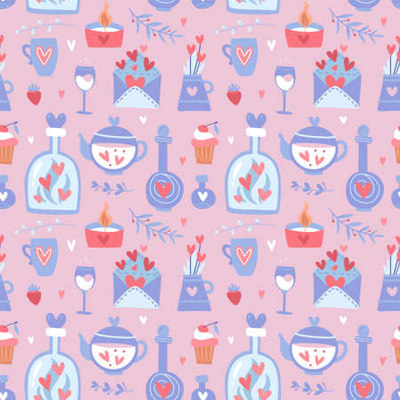 Valentine s day seamless pattern with teapot, cups, flowers and hearts, cake and glasses, romantic set of romantic elements on a pink background, vector flat illustration Ilustrace