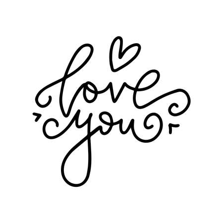 LOVE YOU - original custom hand drawn lettering. Handmade calligraphy, vector typography overlay for romantic photo cards or party invitations for Valentine s Day, wedding, Mother s Day. Ilustrace