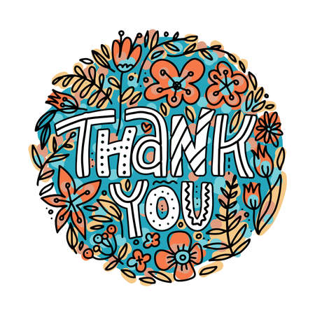 Hand lettering thank you lettering sticker or design element on white background - doodle vector illustration.