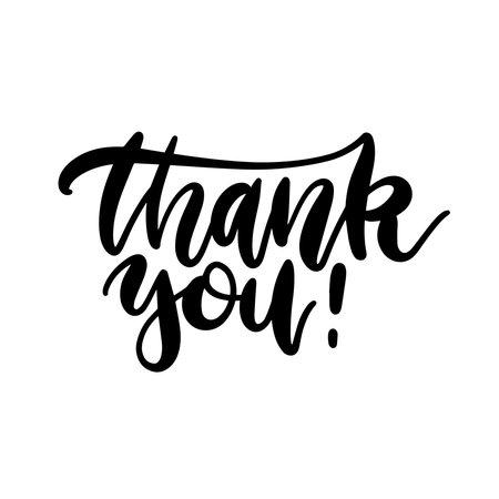 Thank you - handwritten vector illustration, black brush pen lettering isolated on white background.