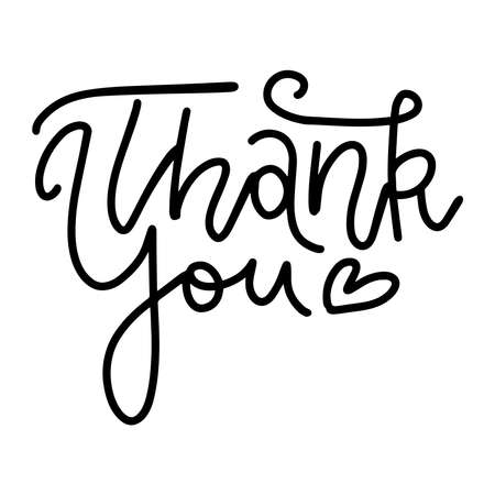 Thank you - linear vector handwritten text with heart. Lettering overlay. Ilustrace
